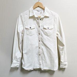 Woolrich ivory white corduroy long sleeve shirt